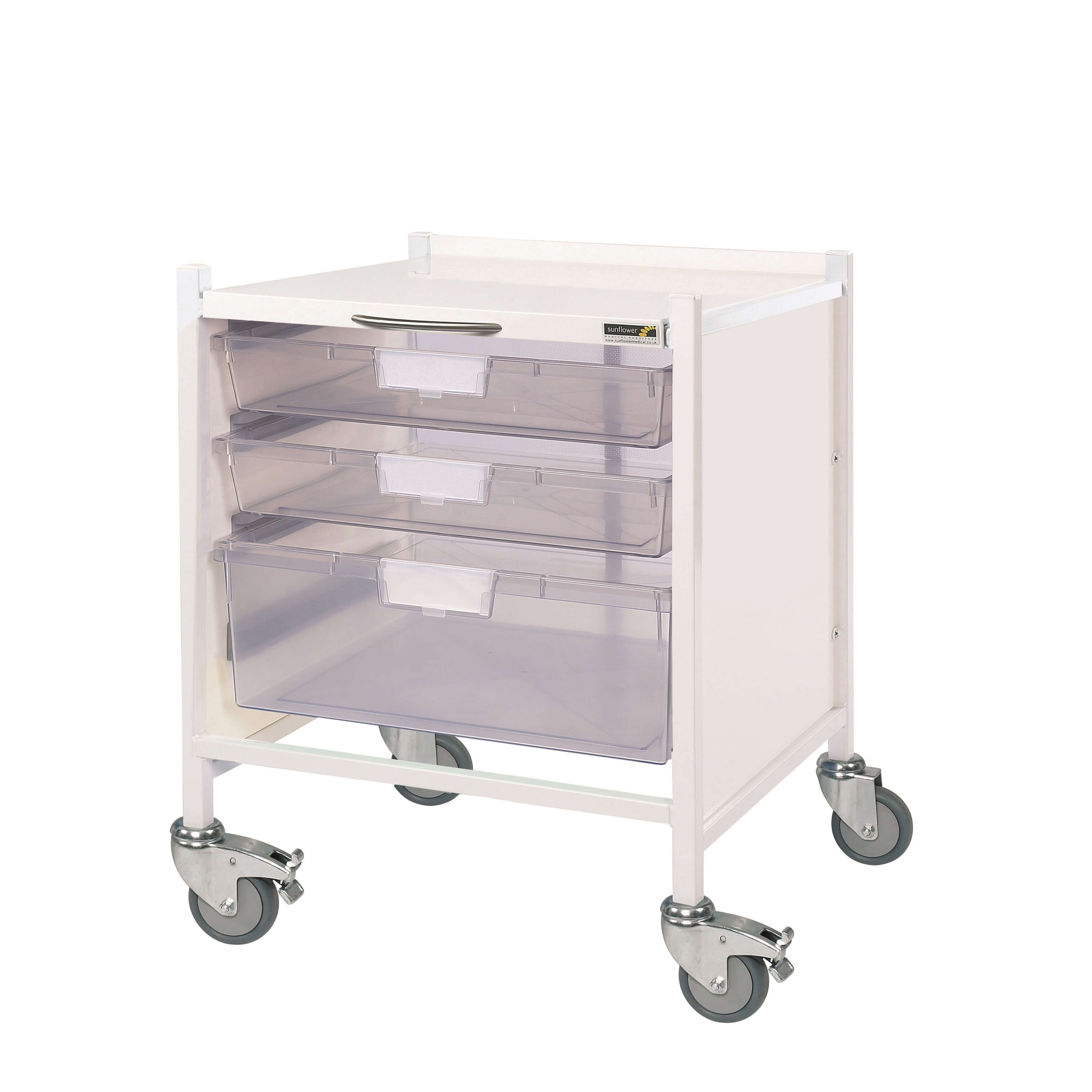 Medi-Trays MT15 Trolley - Two Single/One Double Clear Tray