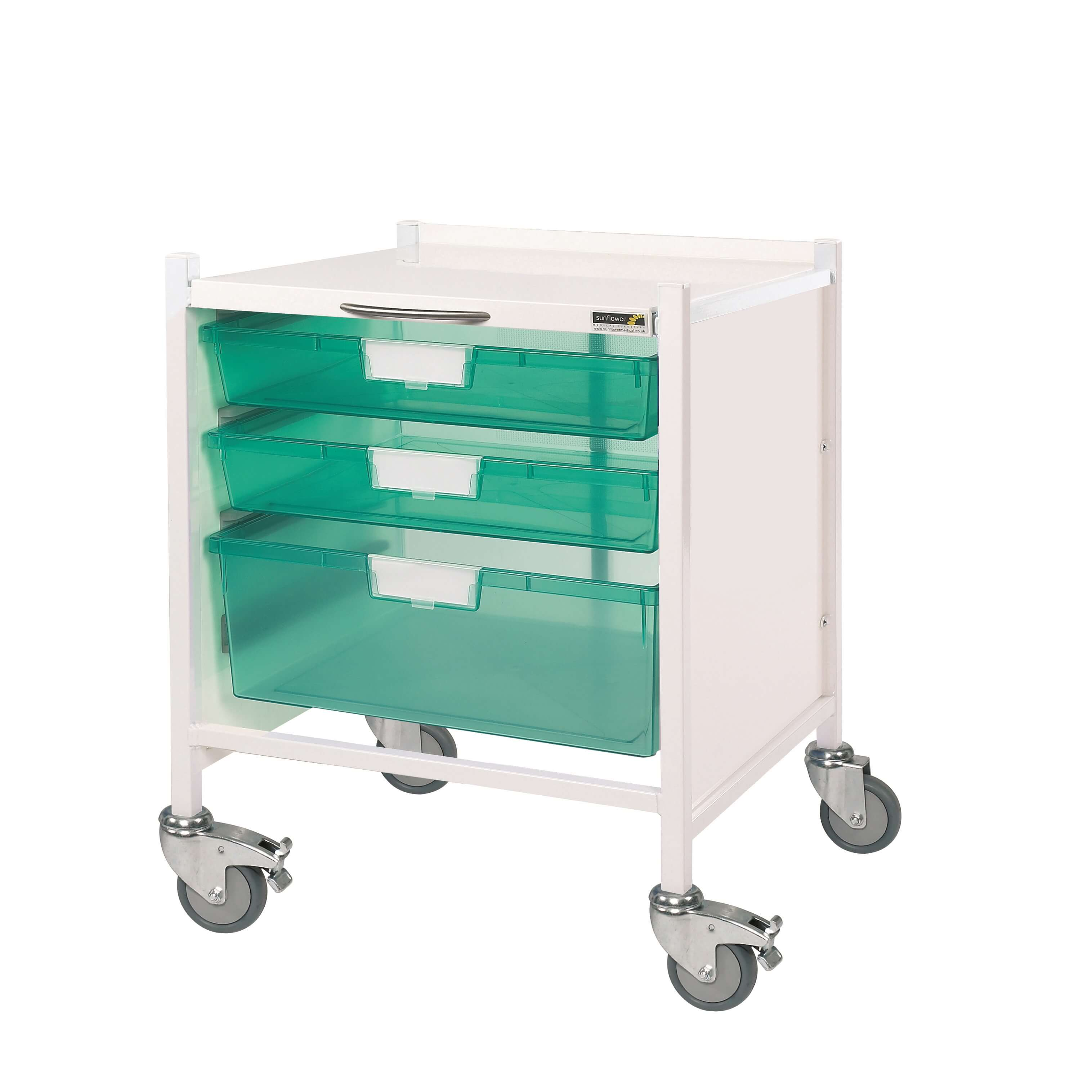 Vista 15 Trolley - Two Single/One Double Green Tray