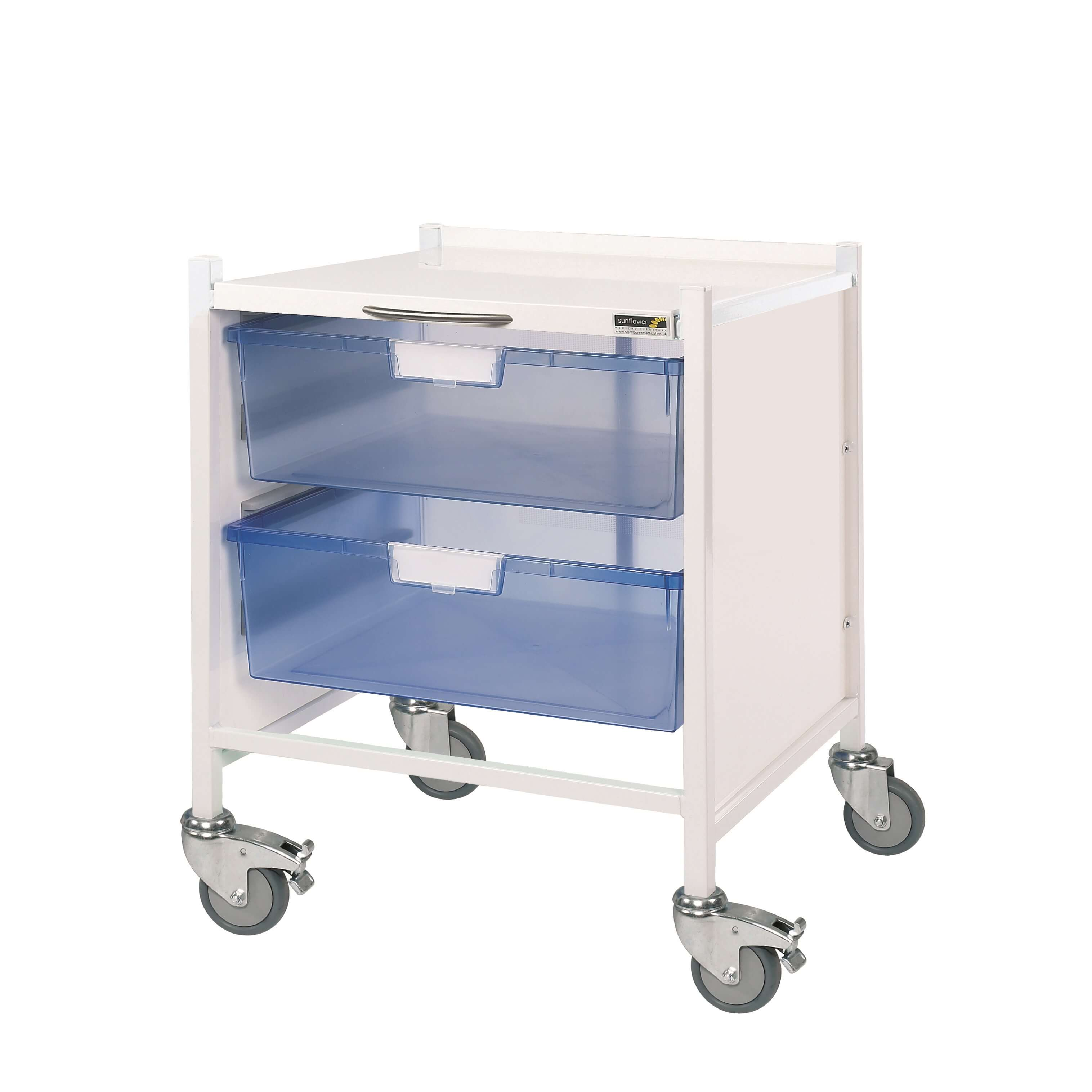 Medi-Trays MT15 Trolley - Two Double Blue Trays