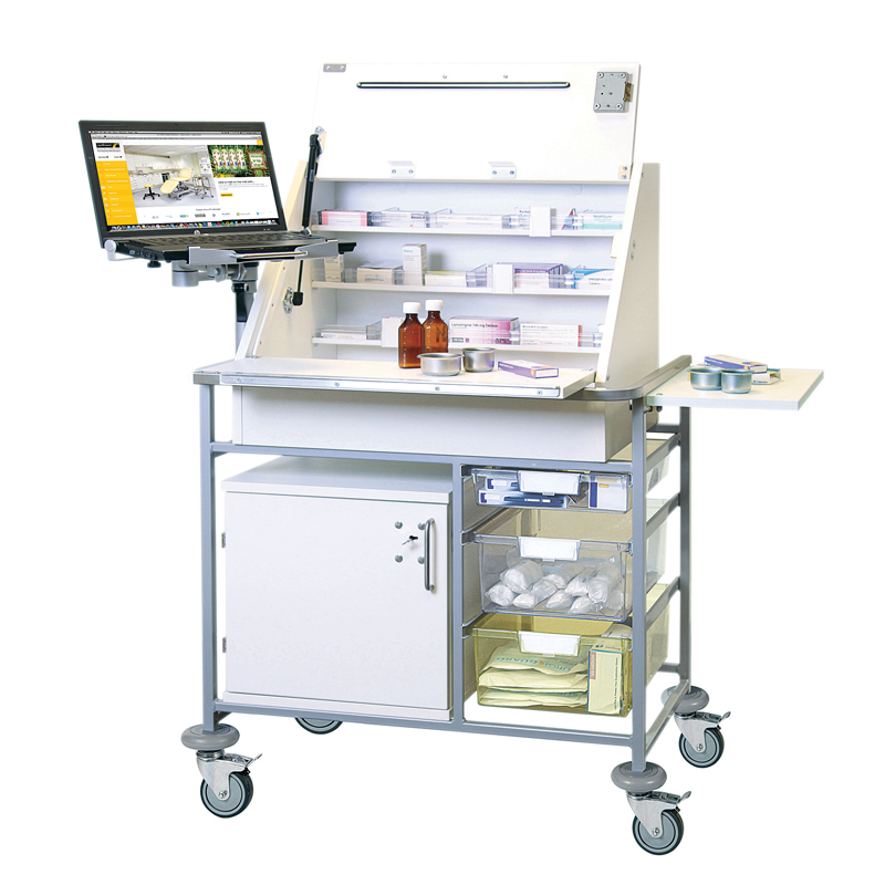 Ward Drug & Medicine Dispensing Trolley (keyed alike) with Adjustable Laptop Mount