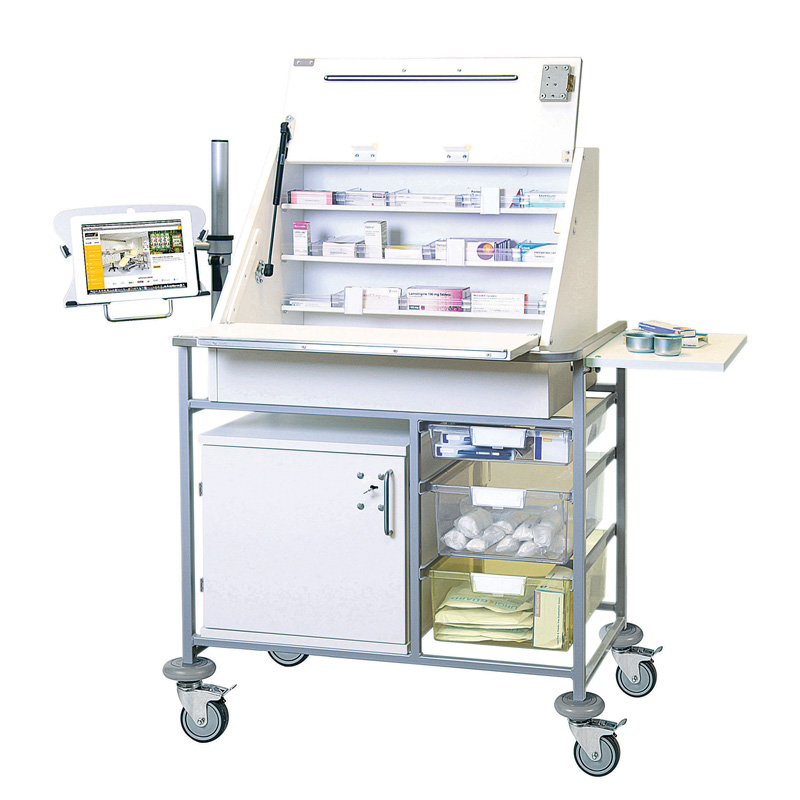 Ward Drug & Medicine Dispensing Trolley (keyed alike) with Adjustable iPad/Tablet Mount
